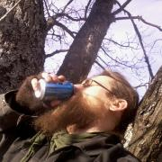 a morning beer in a tree