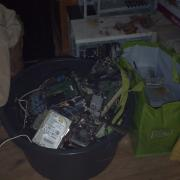 old computer hardware, waiting to be recycled