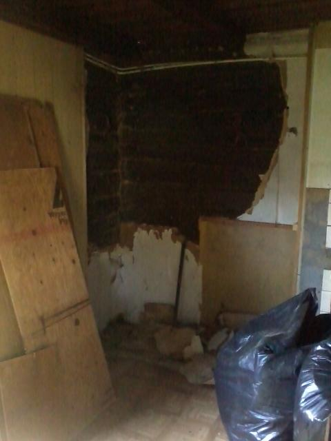 The cupboard removed, exposing the log wall