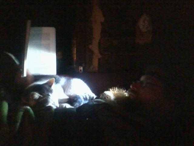 Reading with a led lamp.