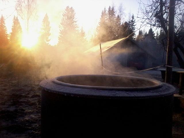 smoke in the morning sun