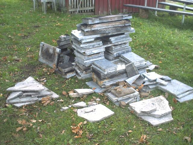 Old fireplace in pieces.