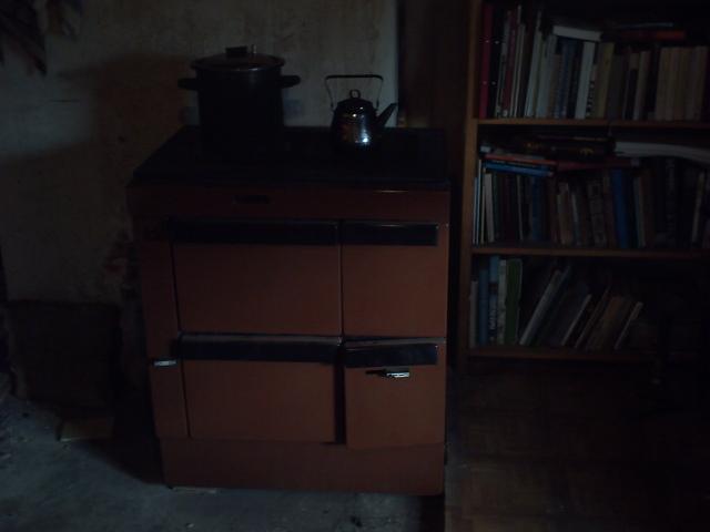 Wood-burning stove installed.
