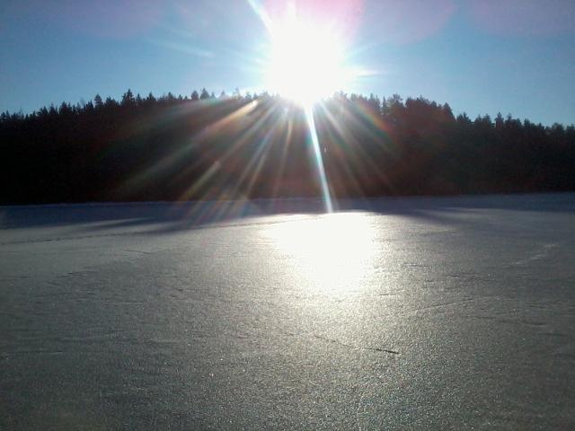 Ice reflecting the sunlight